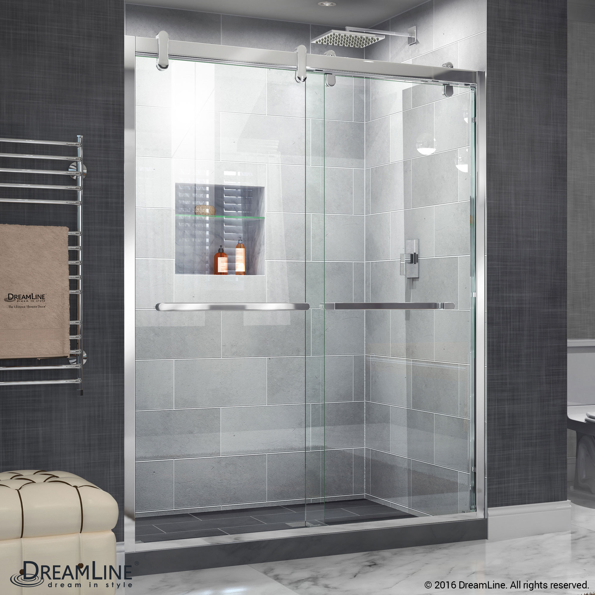 "Butterfly 34 to 35 1/2"" Frameless Bi-Fold Shower Door, Clear 1/4"" Glass Door, Chrome"