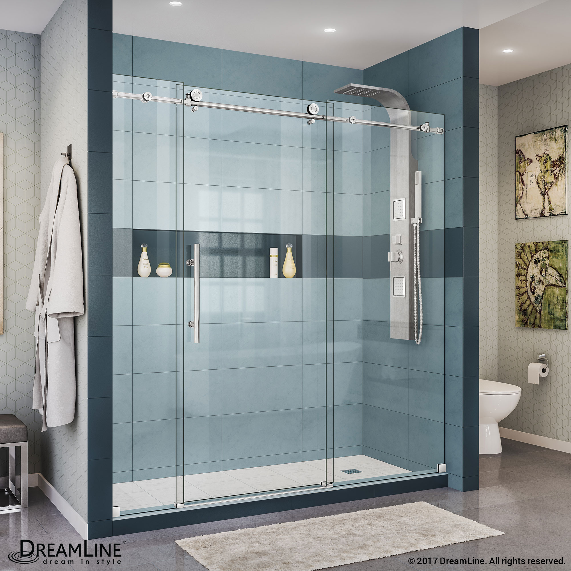 "Enigma-X 56 to 60"" Fully Frameless Sliding Shower Door, Clear 3/8"" Glass Door, Brushed Stainless Steel Finish"