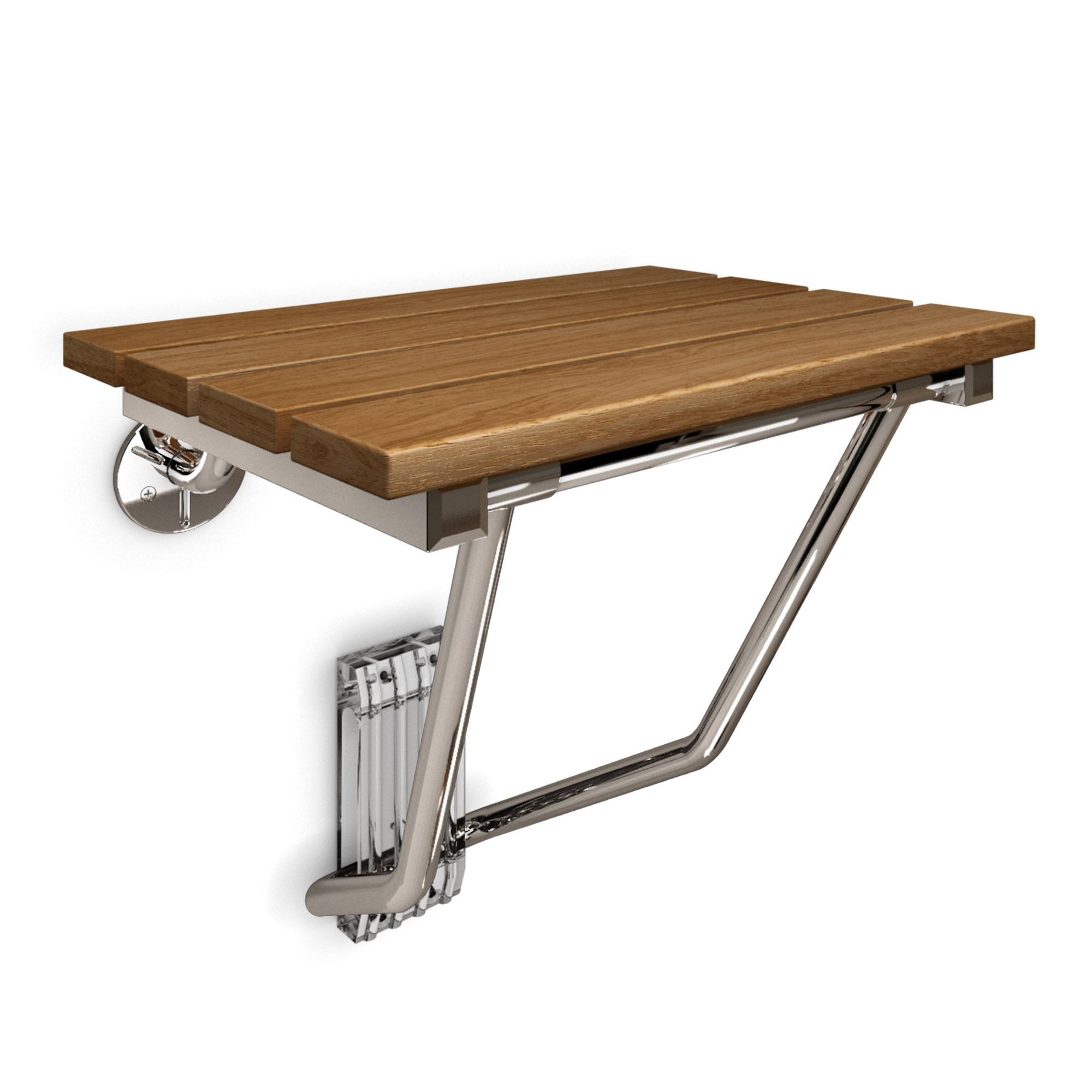 Folding Shower Seat, Natural Teak Wood