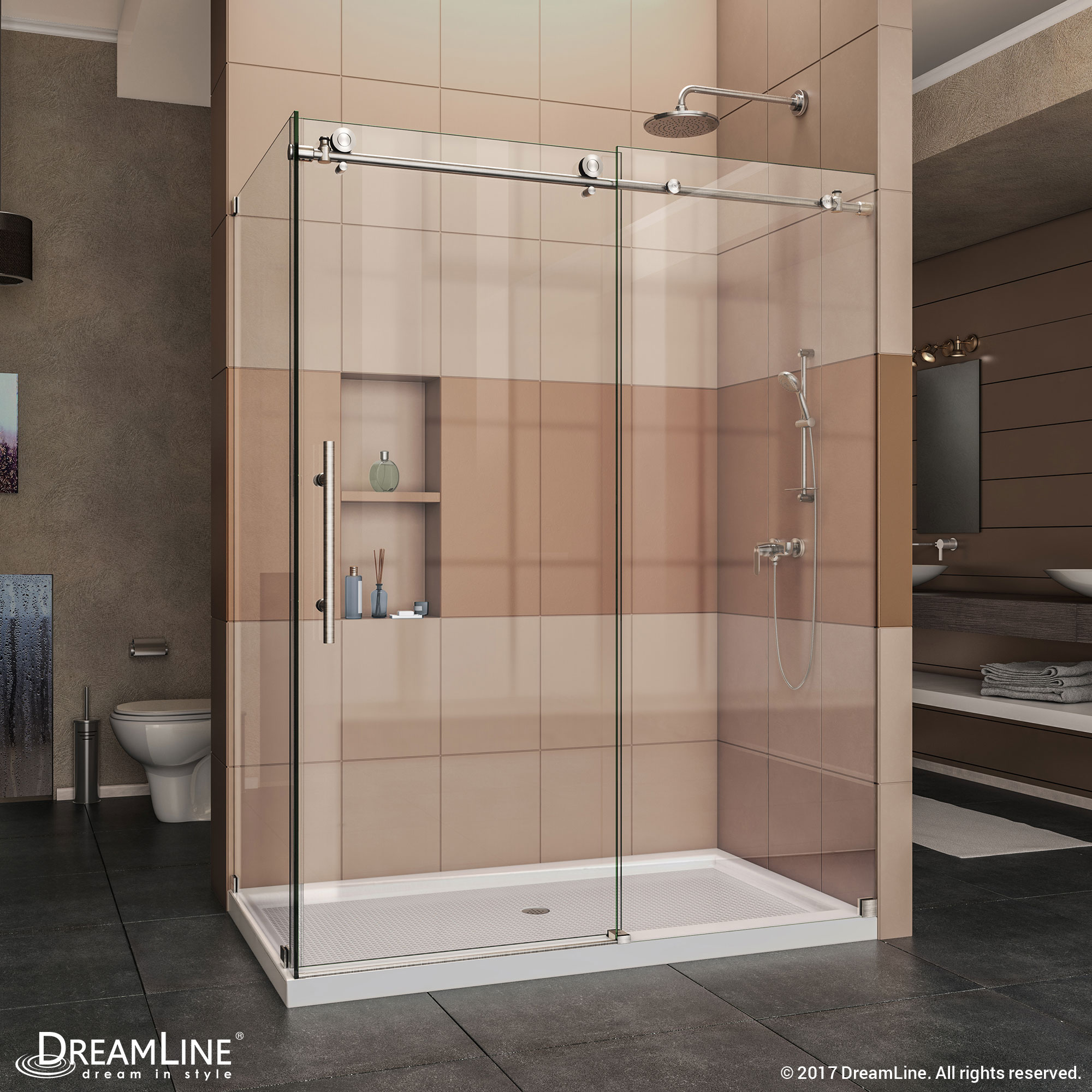 """Enigma-X 34-1/2"""" x 48-3/8"""" Fully Frameless Sliding Shower Enclosure, Clear 3/8"""" Glass, Polished Stainless Steel"""