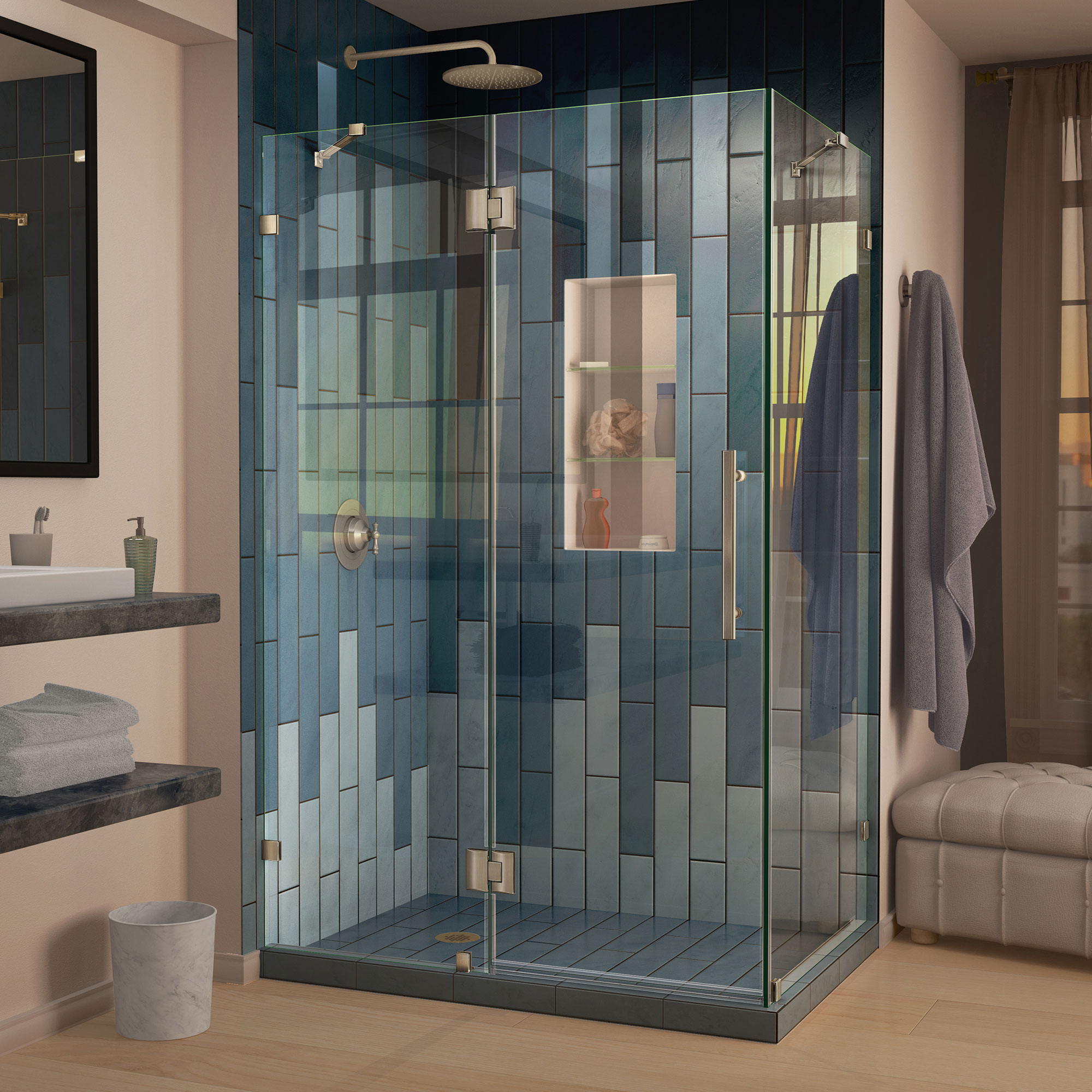 "QuatraLux 34 5/16"" by 46 5/16"" Frameless Hinged Shower Enclosure, Clear 3/8"" Glass Shower, Chrome"