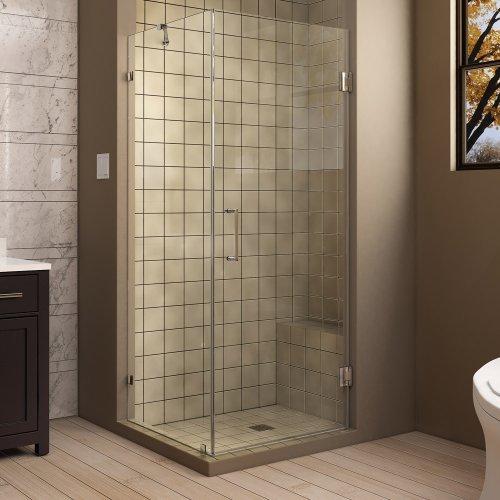 "UnidoorLux 30"" x 30"" Frameless Hinged Shower Enclosure, Clear 3/8"" Glass Shower, Chrome"