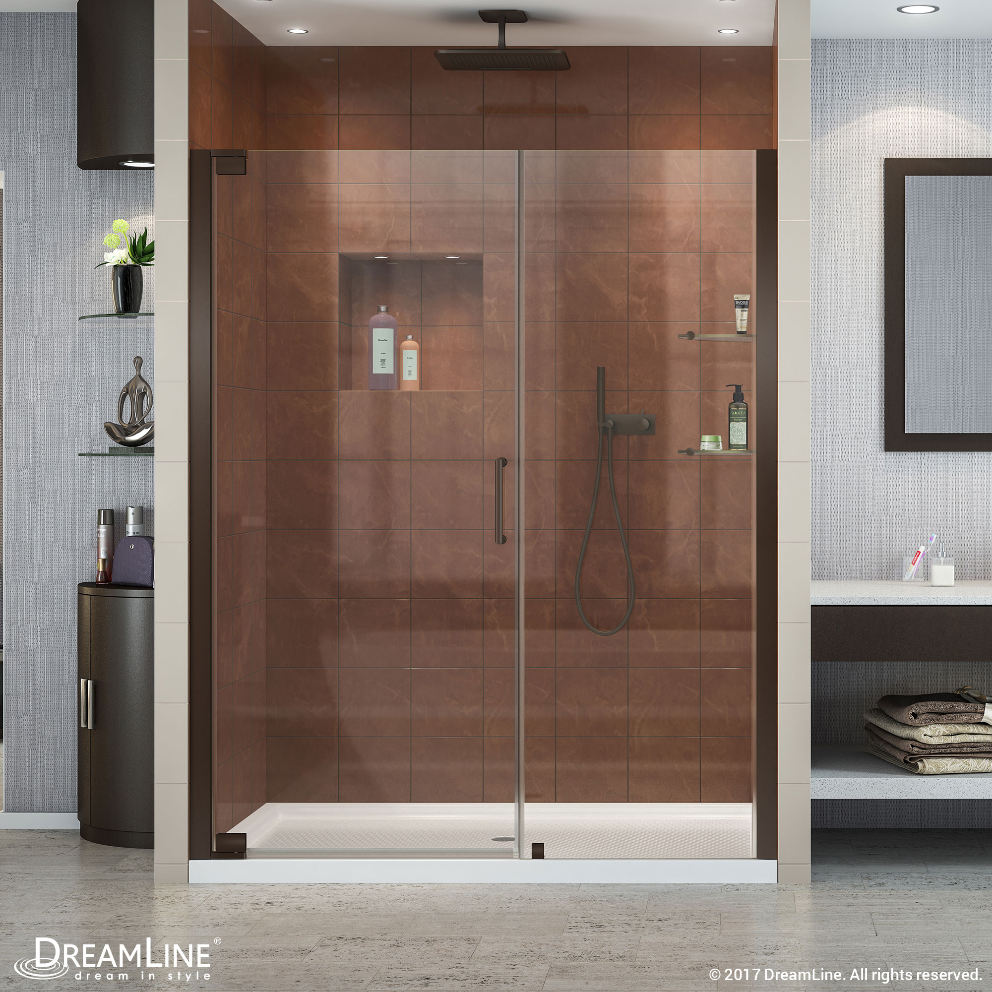 "Elegance 58 to 60"" Frameless Pivot Shower Door, Clear 3/8"" Glass Door, Brushed Nickel"