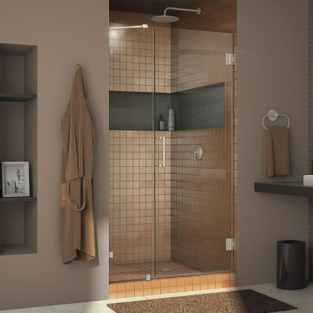 "UnidoorLux 40"" Frameless Hinged Shower Door Clear 3/8"" Glass Door Brushed Nickel"