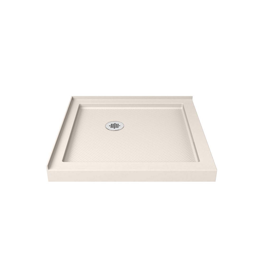 DreamLine SlimLine 36 in. D x 36 in. W x 2 3/4 in. H Corner Drain Double Threshold Shower Base in White