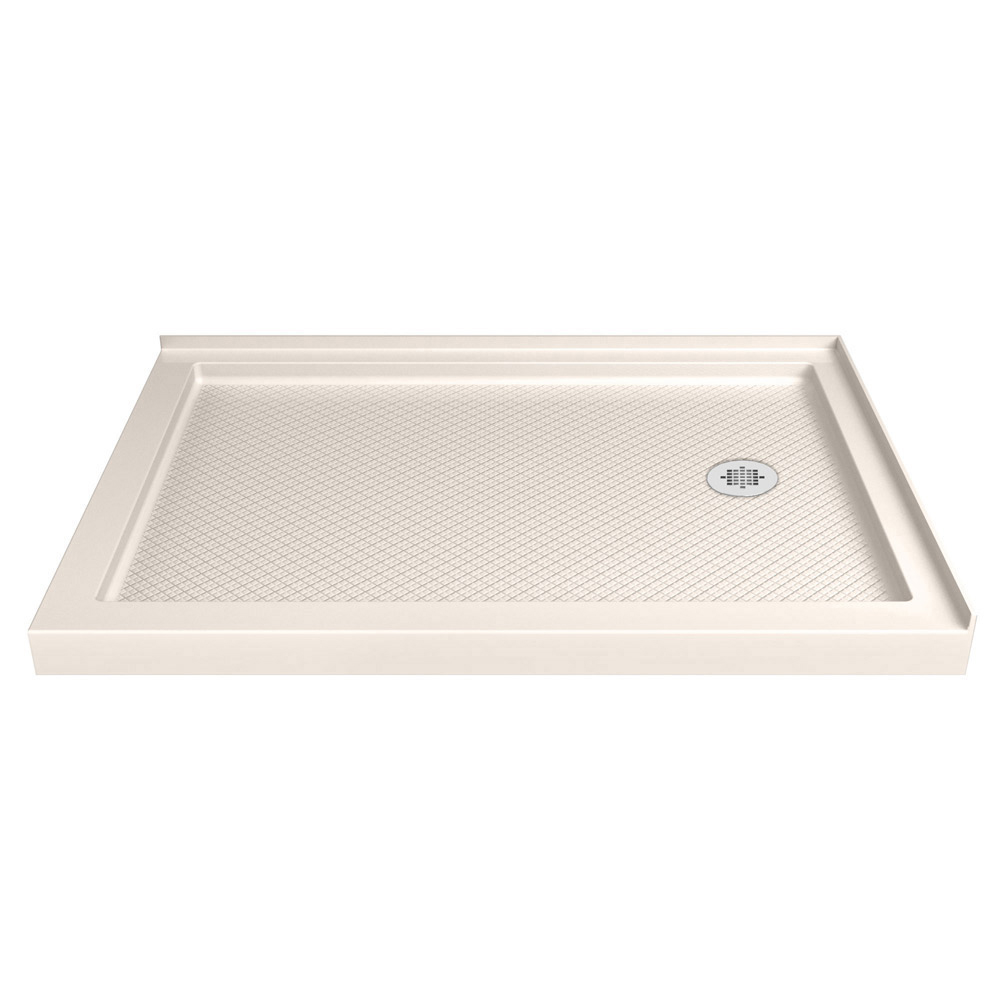 DreamLine SlimLine 36 in. D x 60 in. W x 2 3/4 in. H Right Drain Double Threshold Shower Base in White
