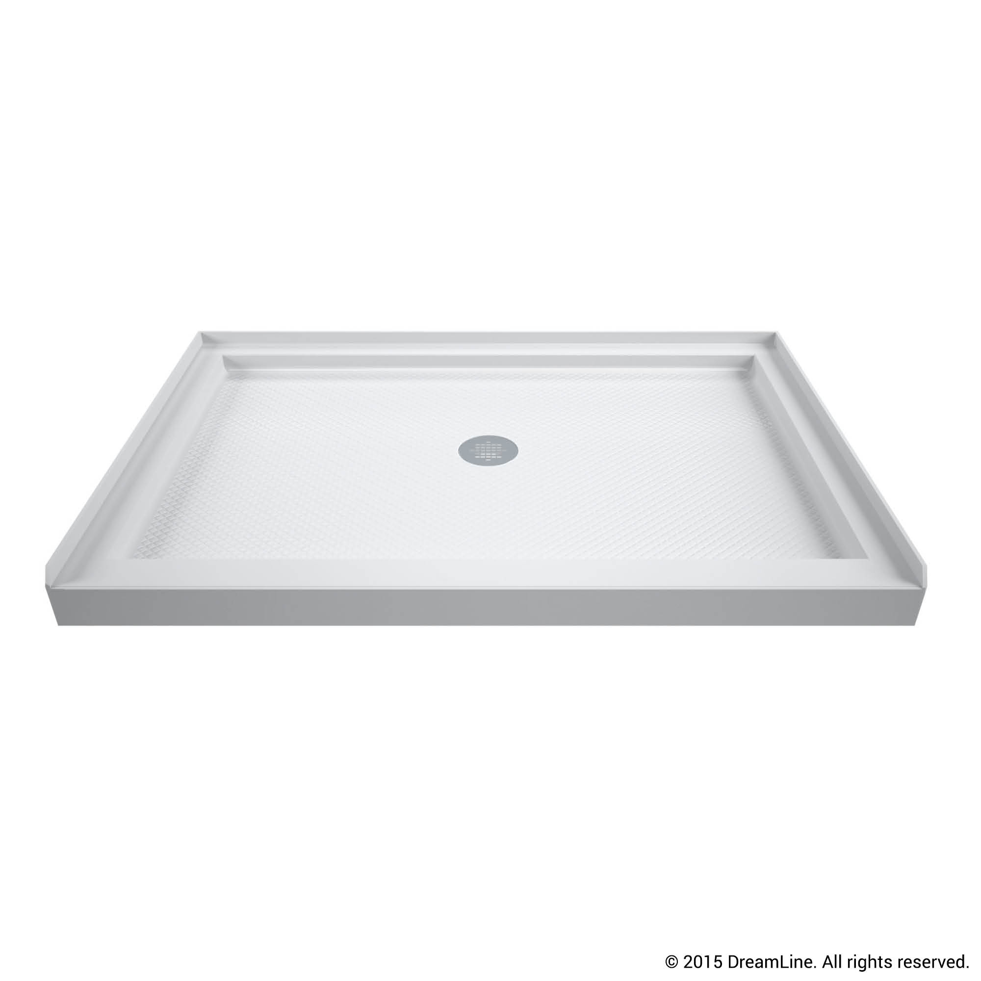 DreamLine SlimLine 34 in. D x 48 in. W x 2 3/4 in. H Right Drain Double Threshold Shower Base in White