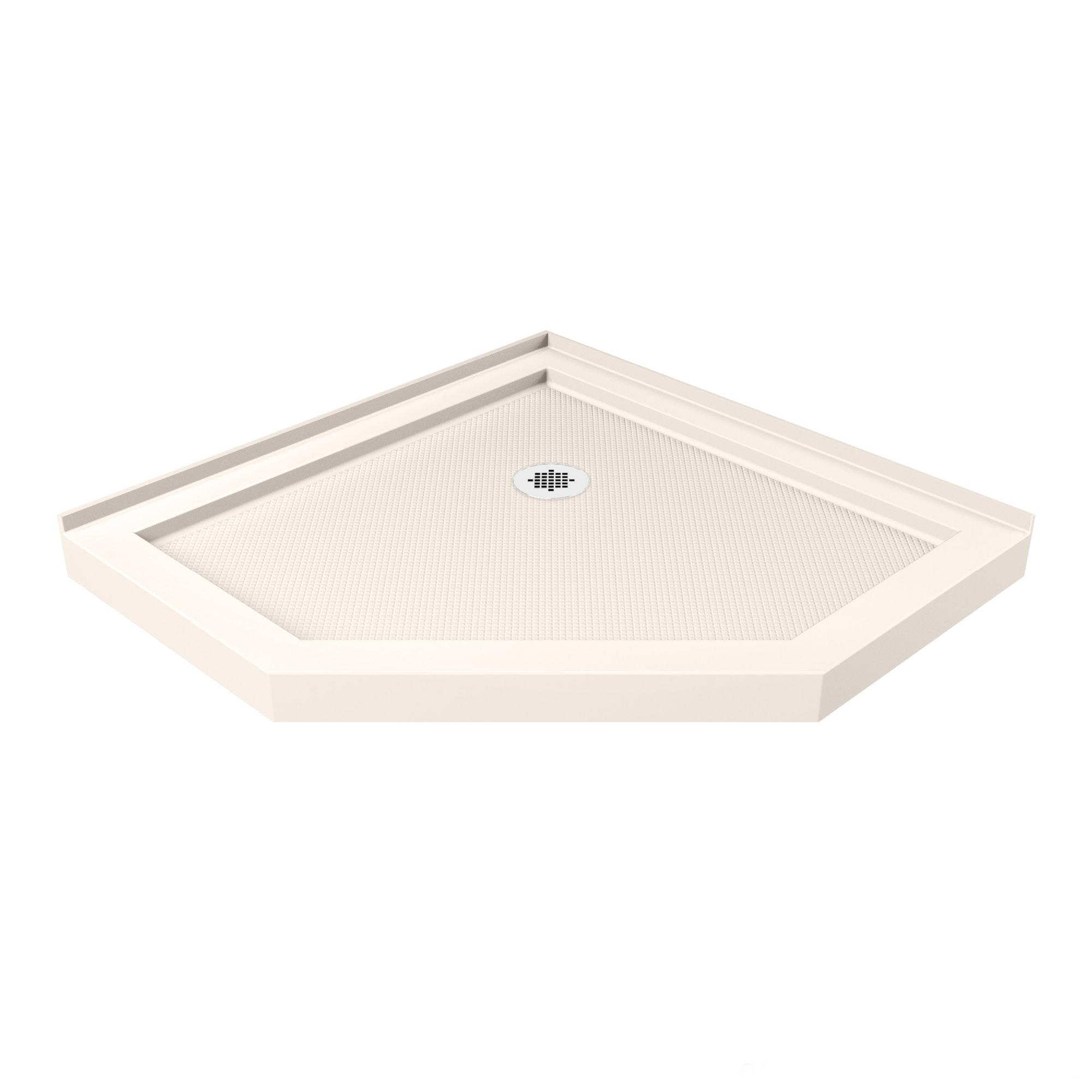 DreamLine SlimLine 36 in. D x 36 in. W x 2 3/4 in. H Corner Drain Neo-Angle Shower Base in White