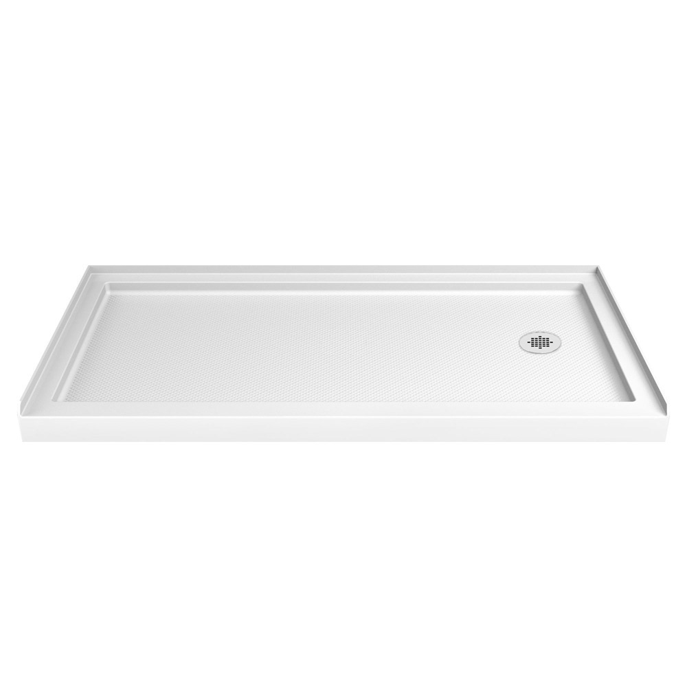 DreamLine SlimLine 30 in. D x 60 in. W x 2 3/4 in. H Center Drain Single Threshold Shower Base in White