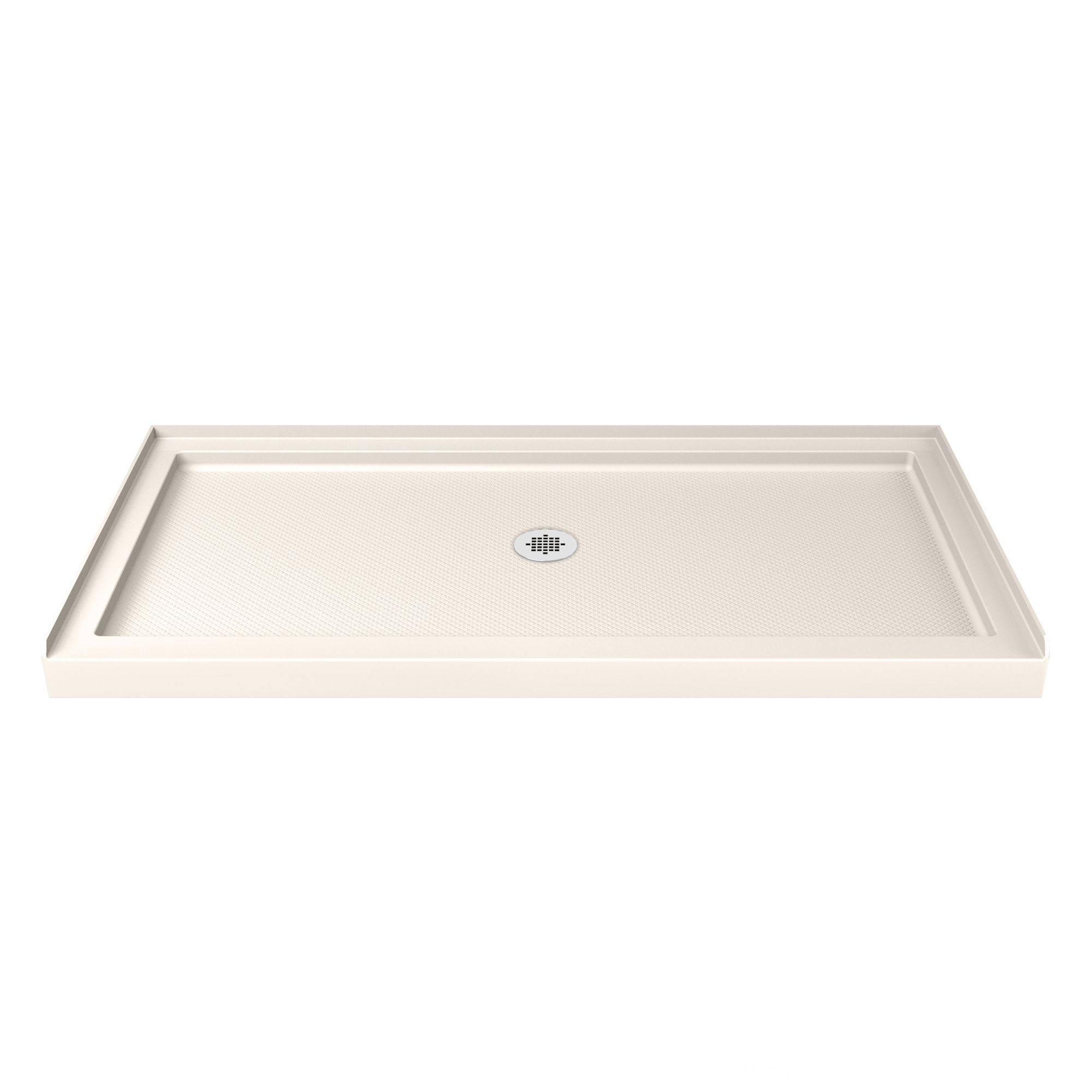 DreamLine SlimLine 32 in. D x 60 in. W x 2 3/4 in. H Center Drain Single Threshold Shower Base in White