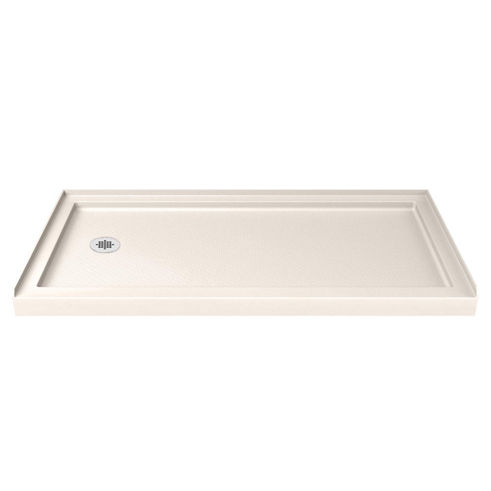DreamLine SlimLine 34 in. D x 60 in. W x 2 3/4 in. H Left Drain Single Threshold Shower Base in White