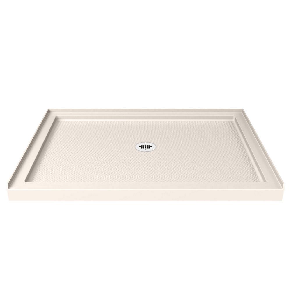 DreamLine SlimLine 36 in. D x 48 in. W x 2 3/4 in. H Center Drain Single Threshold Shower Base in White