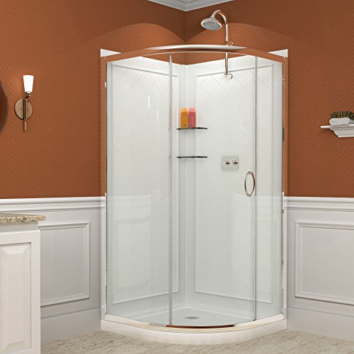 "Solo 36-3/8"" x 36-3/8"" Frameless Sliding Shower Enclosure, Base & QWALL-4 Shower Backwall Kit"