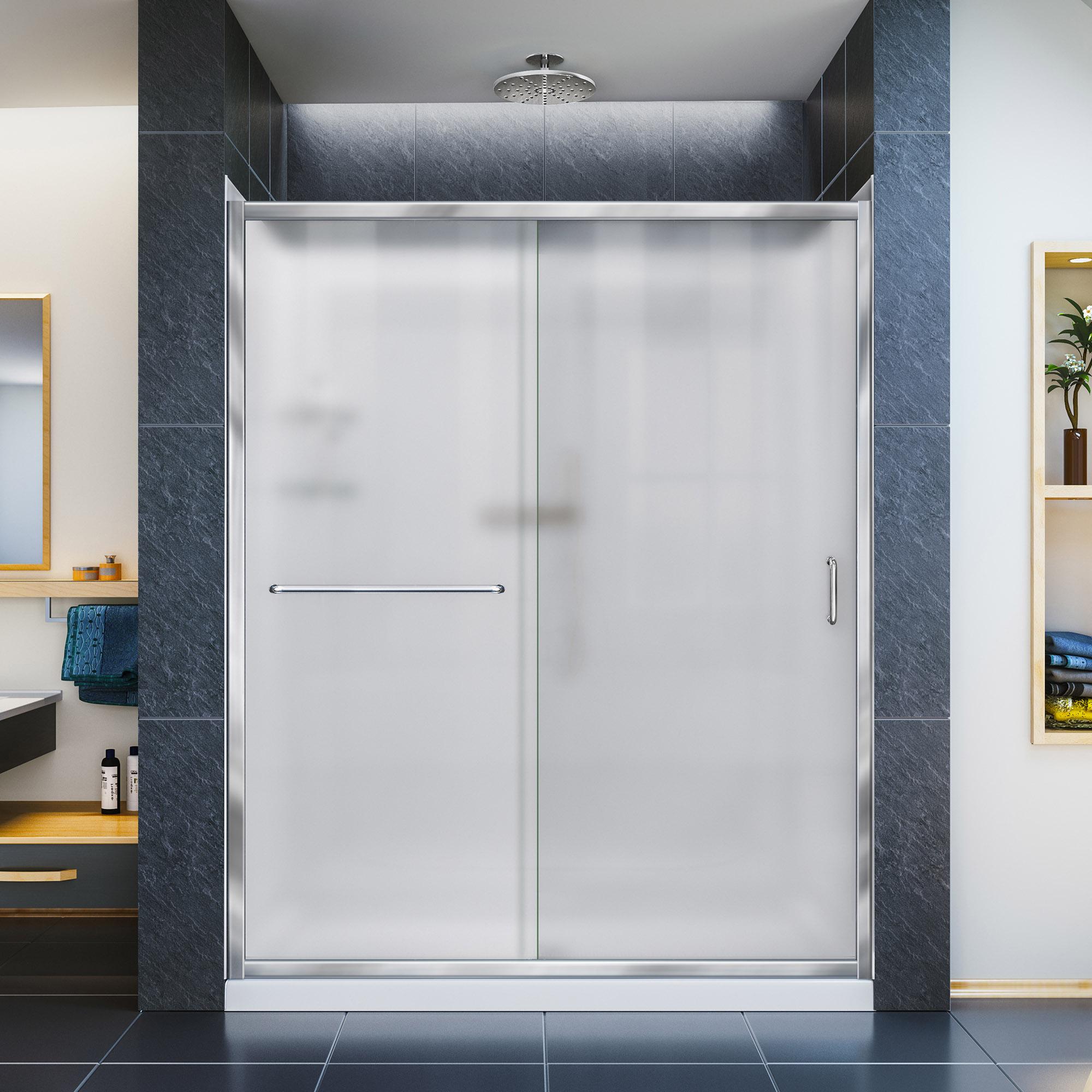 """Infinity-Z Frameless Sliding Shower Door, 34"""" by 60"""" Shower Base & QWALL-5 Shower Backwall"""