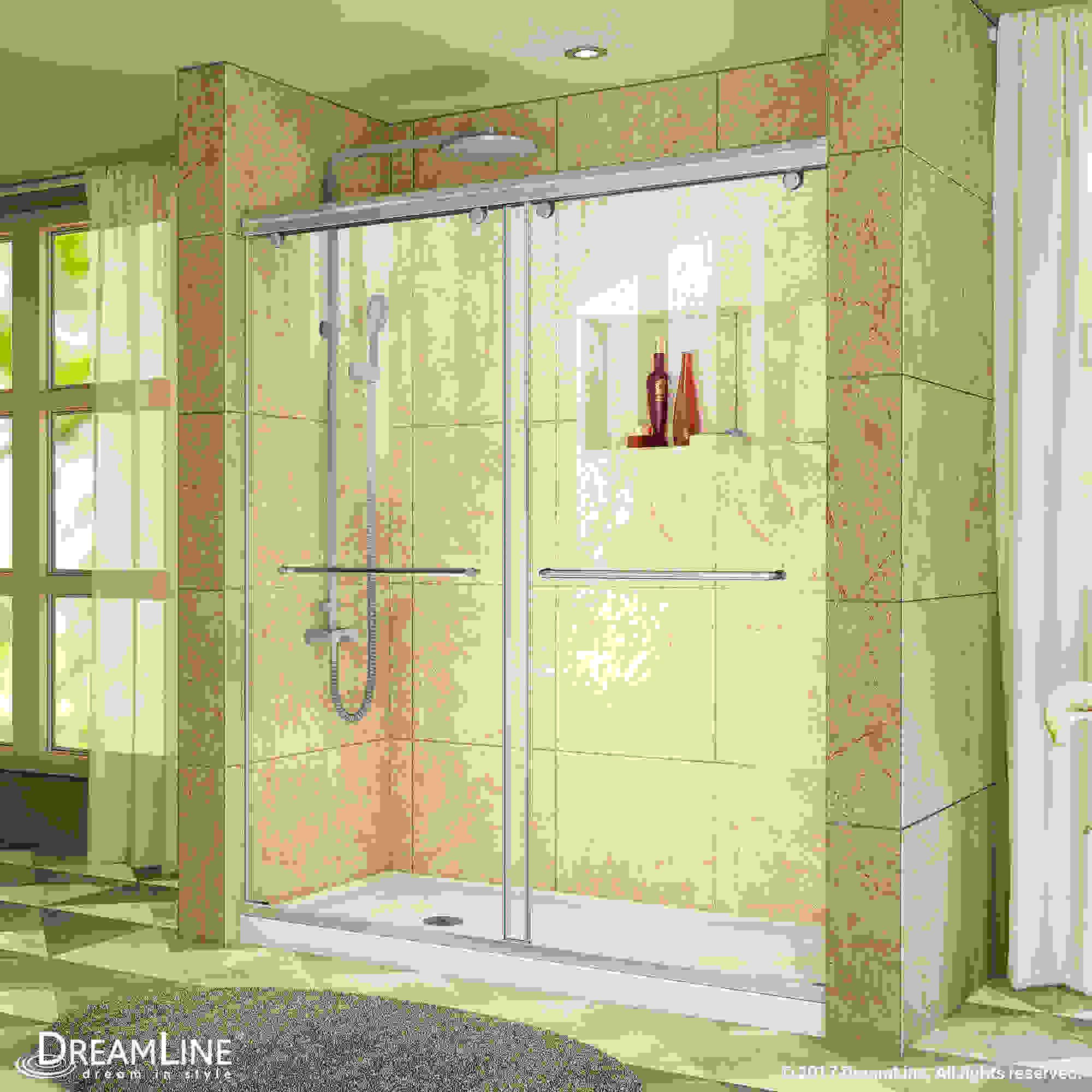 """Charisma Frameless Bypass Sliding Shower Door & SlimLine 30"""" by 60"""" Shower Base"""