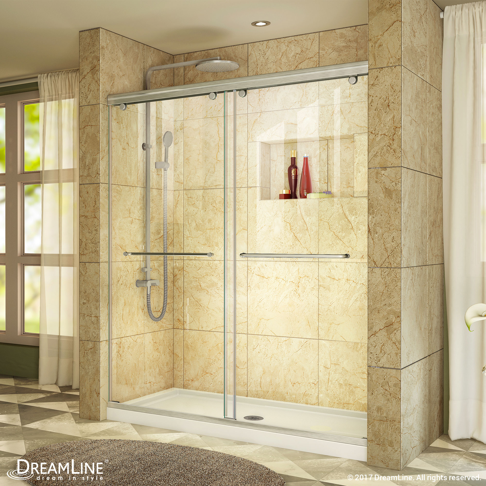 """Charisma Frameless Bypass Sliding Shower Door & SlimLine 36"""" by 60"""" Shower Base"""