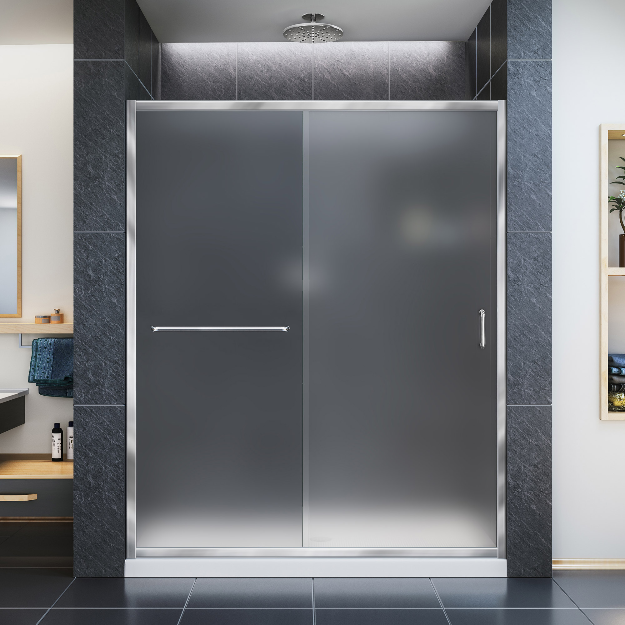 "Infinity-Z Frameless Sliding Shower Door & SlimLine 30"" by 60"" Shower Base"