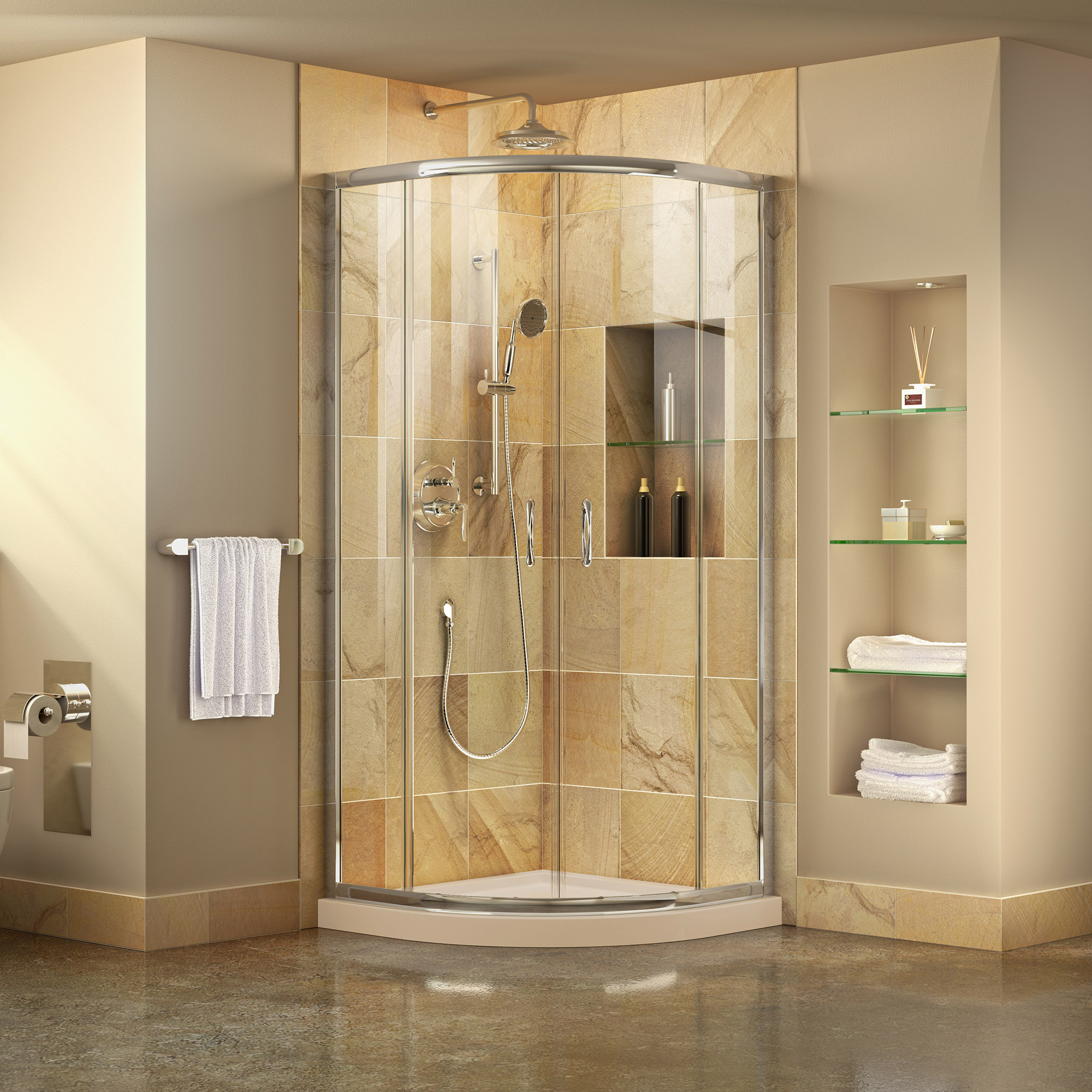 Prime Frameless Sliding Shower Enclosure & SlimLine 38
