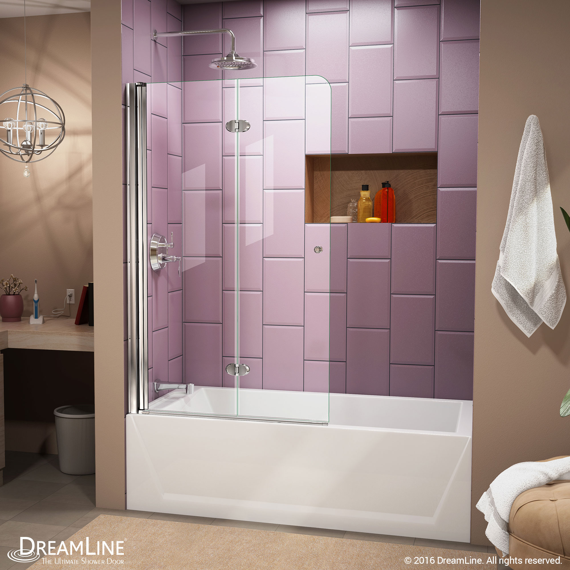 DreamLine Aqua 56-60 in. W x 30 in. D x 58 in. H Frameless Hinged Tub Door with 30 in. Return Panel in Brushed Nickel