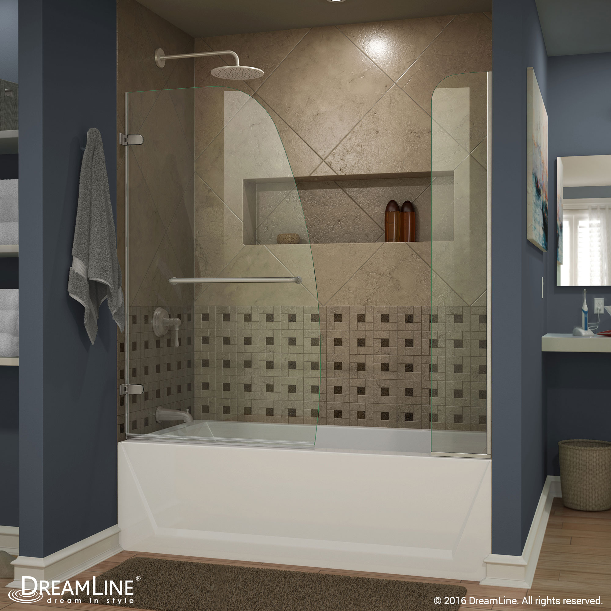 DreamLine Aqua Uno 56-60 in. W x 58 in. H Frameless Hinged Tub Door with Extender Panel in Chrome