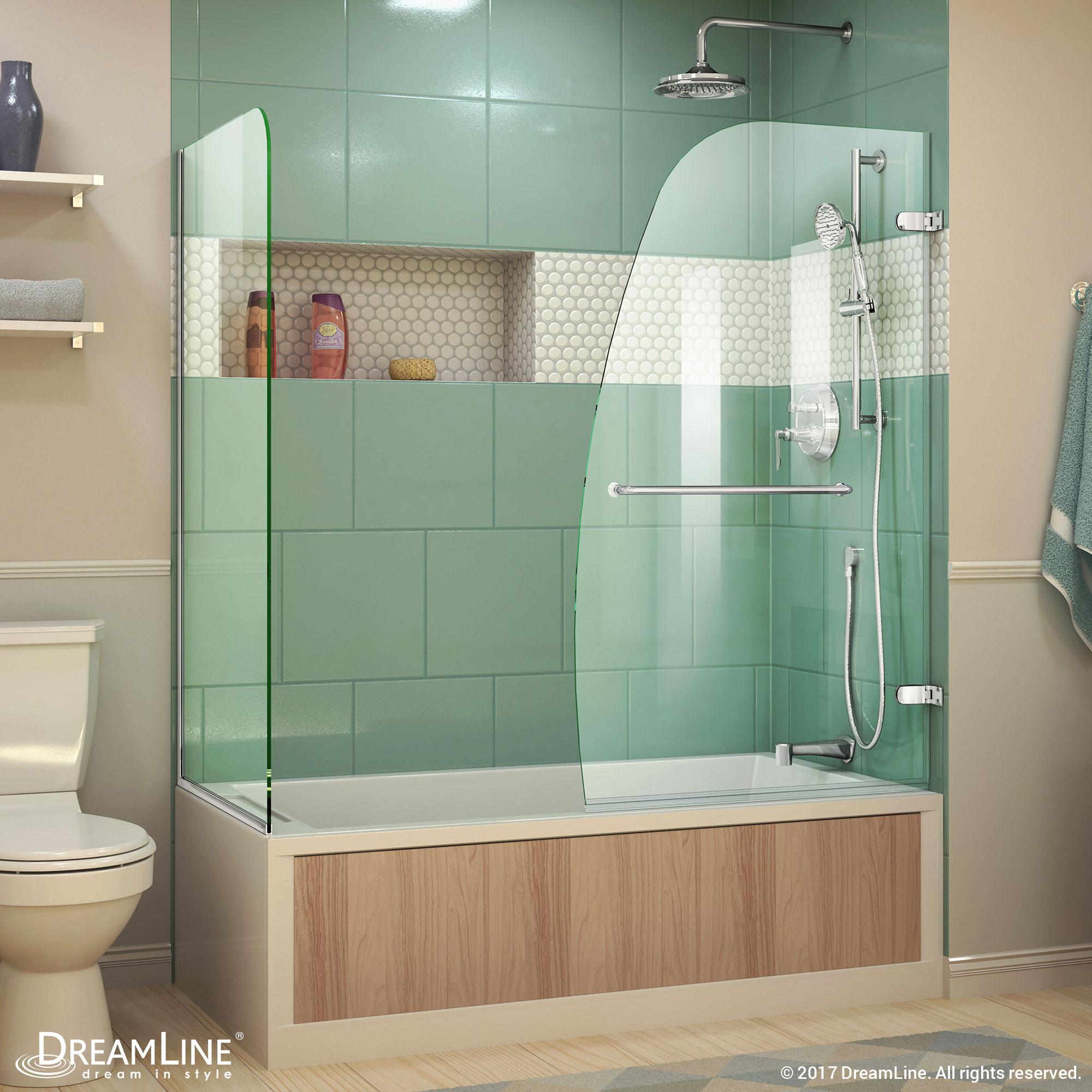 Aqua Uno 56 to 60 in. W x 30 in. D x 58 in. H Hinged Tub Door, Brushed Nickel