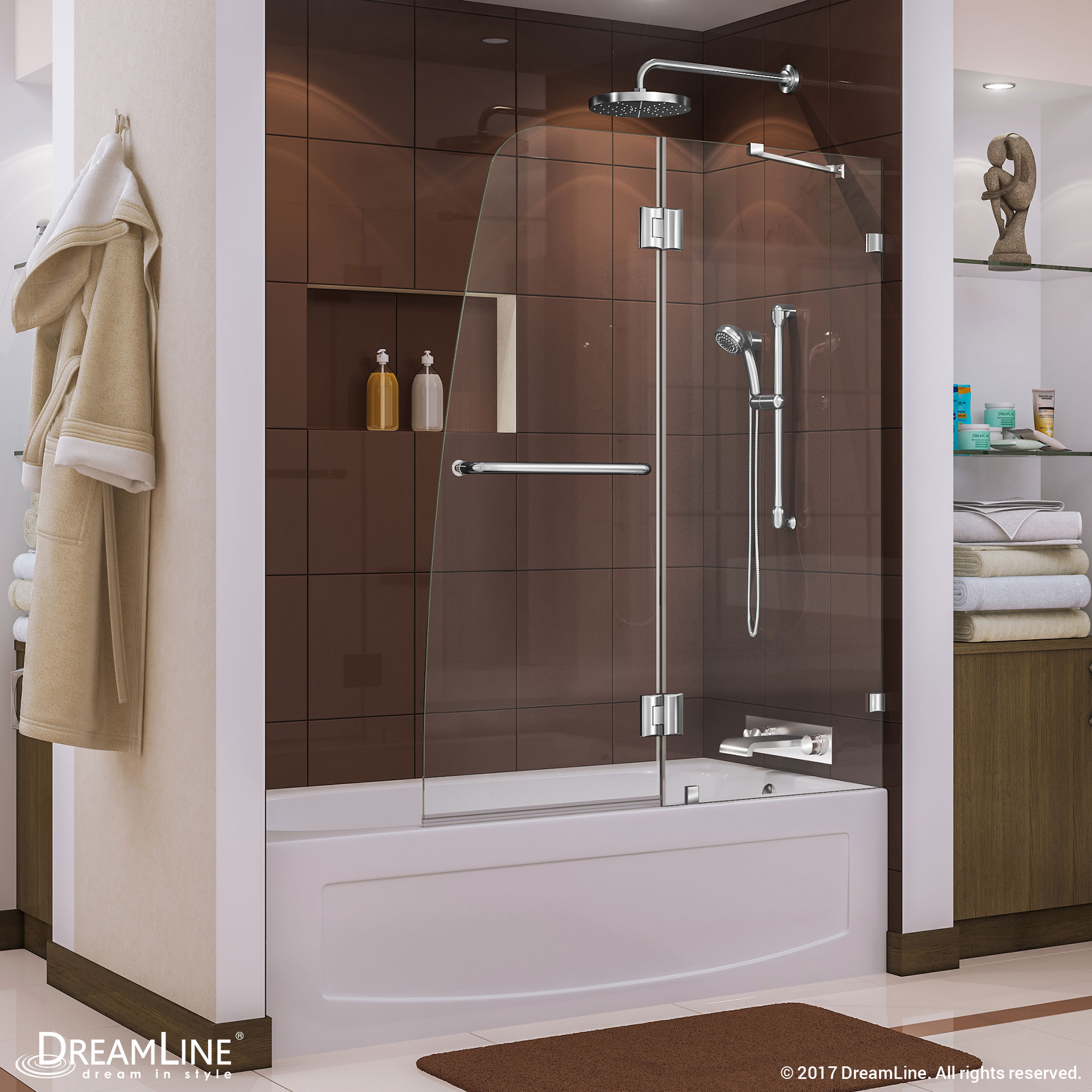 AquaFold 56 to 60 in. W x 30 in. D x 58 in. H Hinged Tub Door, Chrome