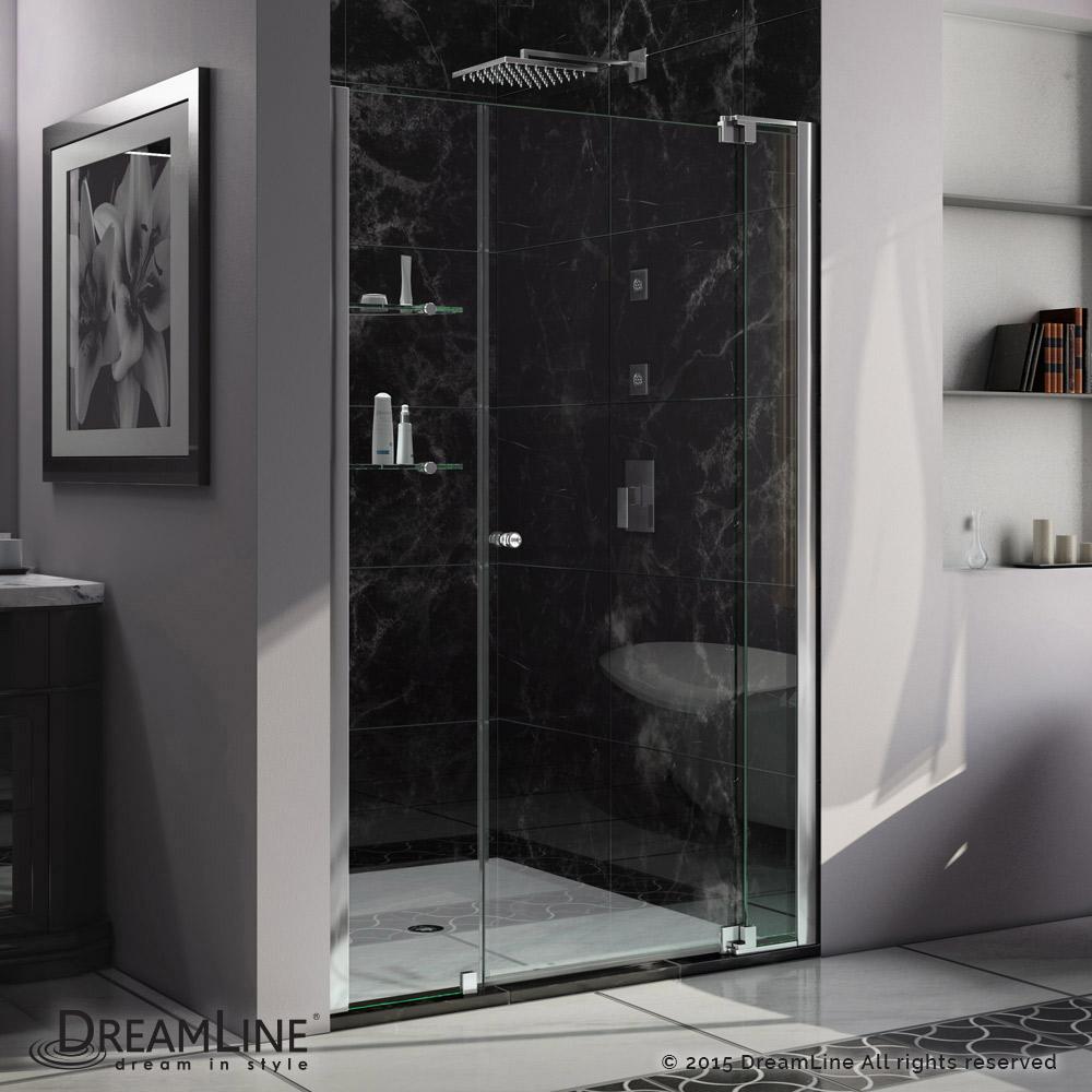 DreamLine Allure 34-35 in. W x 73 in. H Frameless Pivot Shower Door in Chrome