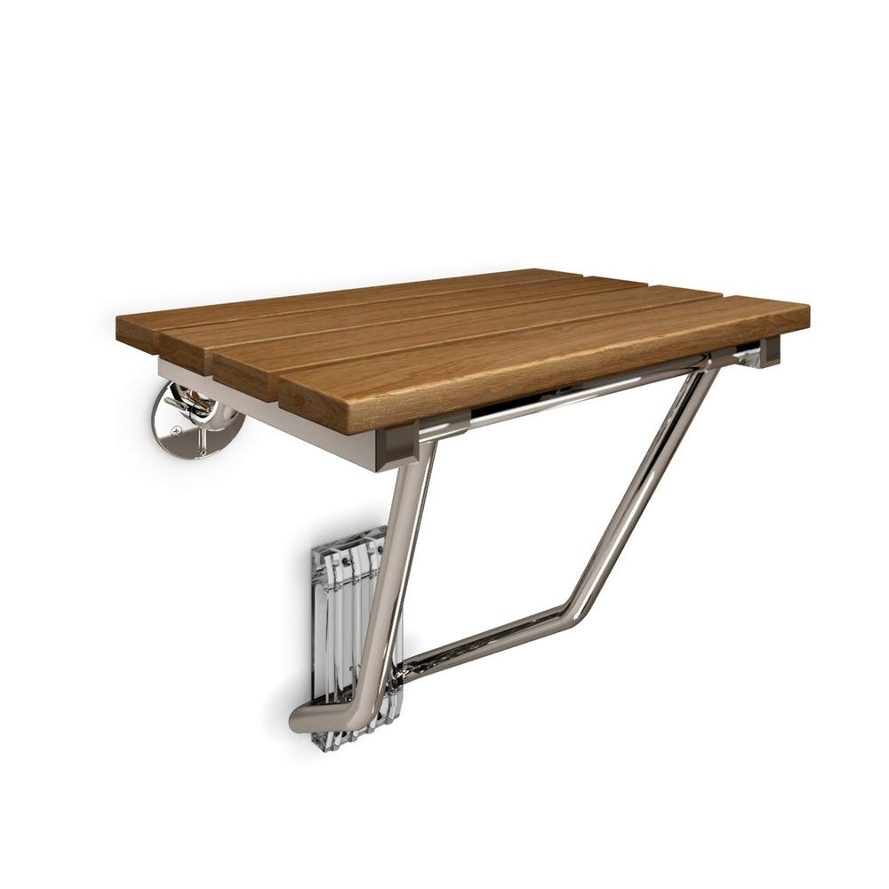 DreamLine Natural Teak Folding Shower Seat. ADA Compliant Shower Seat