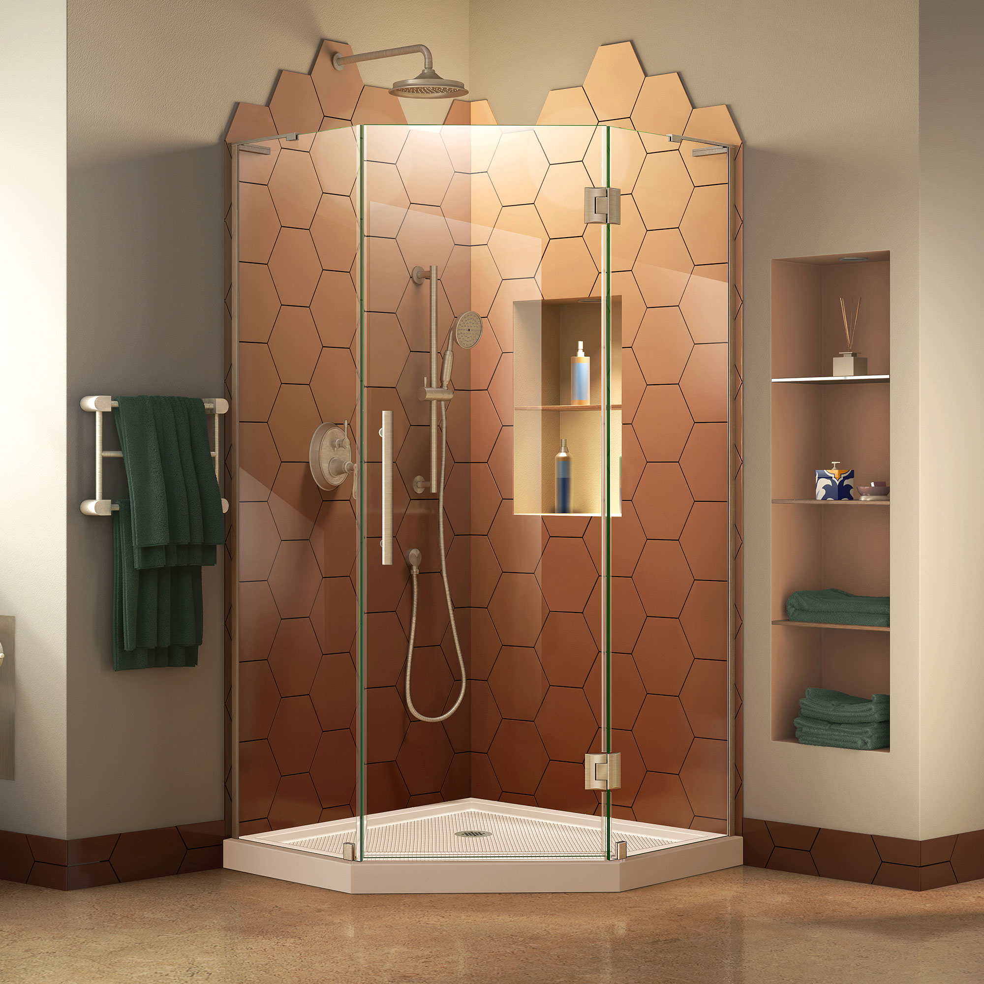 DreamLine Prism Plus 34 in. D x 34 in. W x 72 in. H Frameless Hinged Shower Enclosure in Chrome