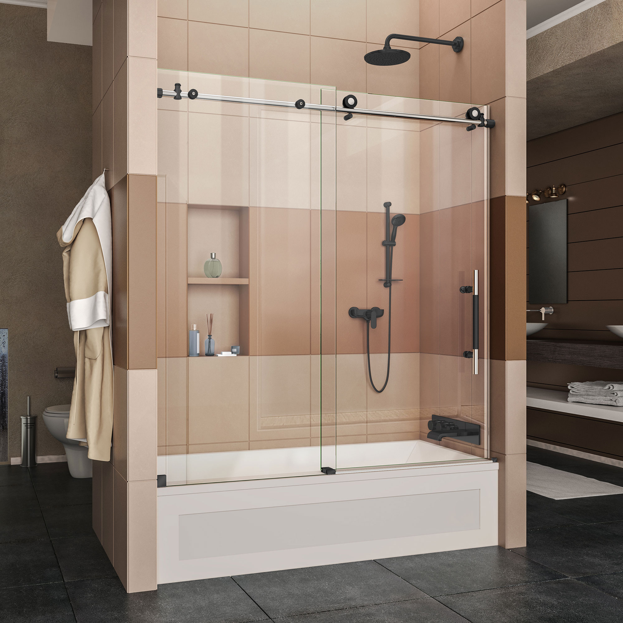 DreamLine Enigma-XT 34 1/2 in. D x 60 3/8 in. W x 76 in. H Fully Frameless Sliding Shower Enclosure in Tuxedo Finish
