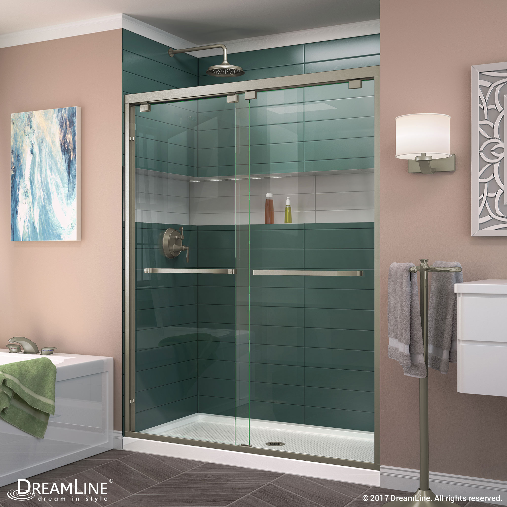 DreamLine Encore 34 in. D x 60 in. W x 78 3/4 in. H Bypass Shower Door in Chrome and Center Drain White Base Kit