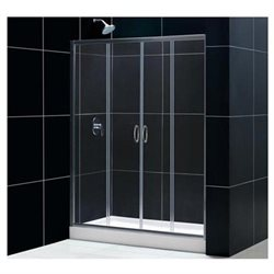 "Visions 56 to 60"" Frameless Sliding Shower Door, Clear 1/4"" Glass Door, Chrome"