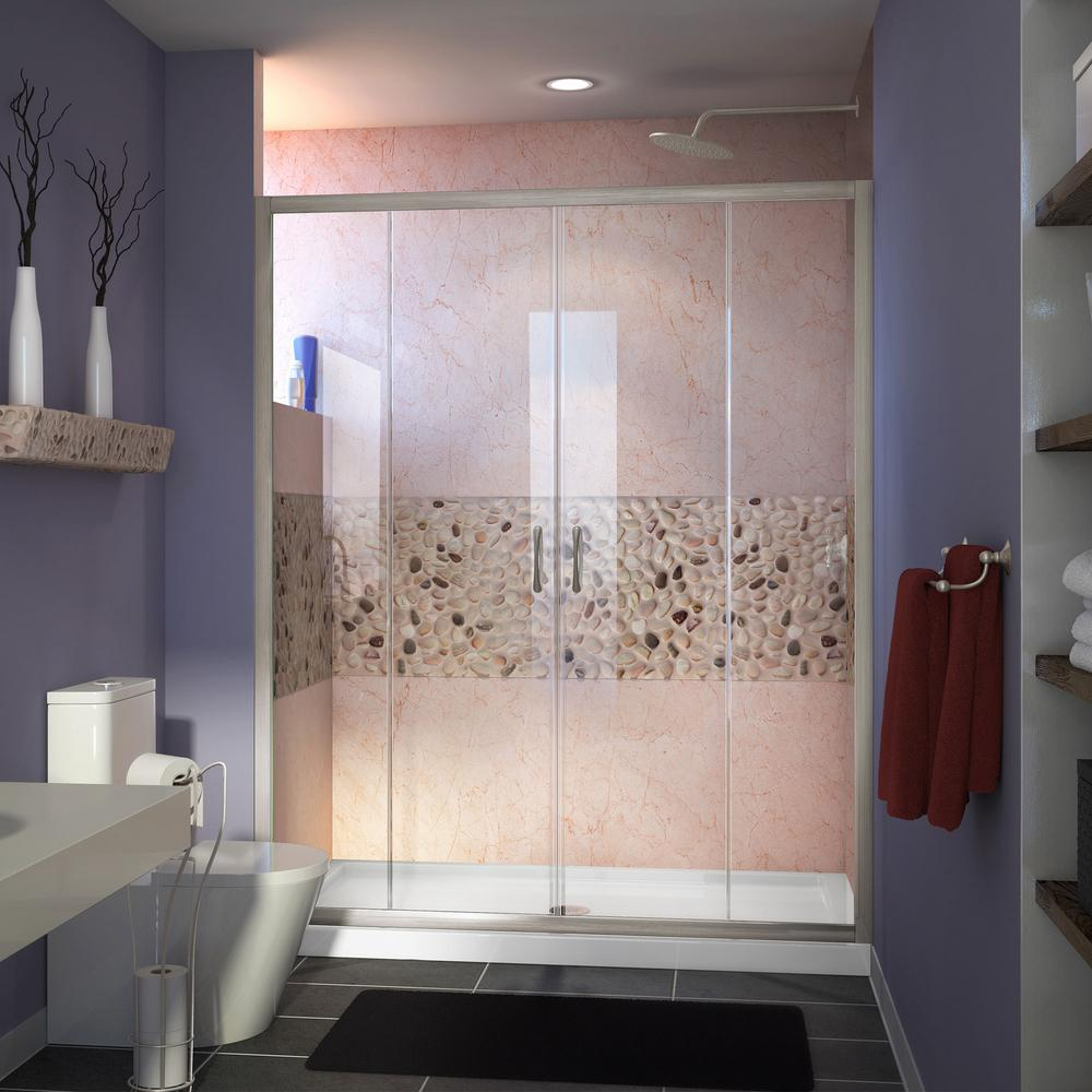 "Visions 56 to 60"" Frameless Sliding Shower Door, Clear 1/4"" Glass Door, Brushed Nickel"