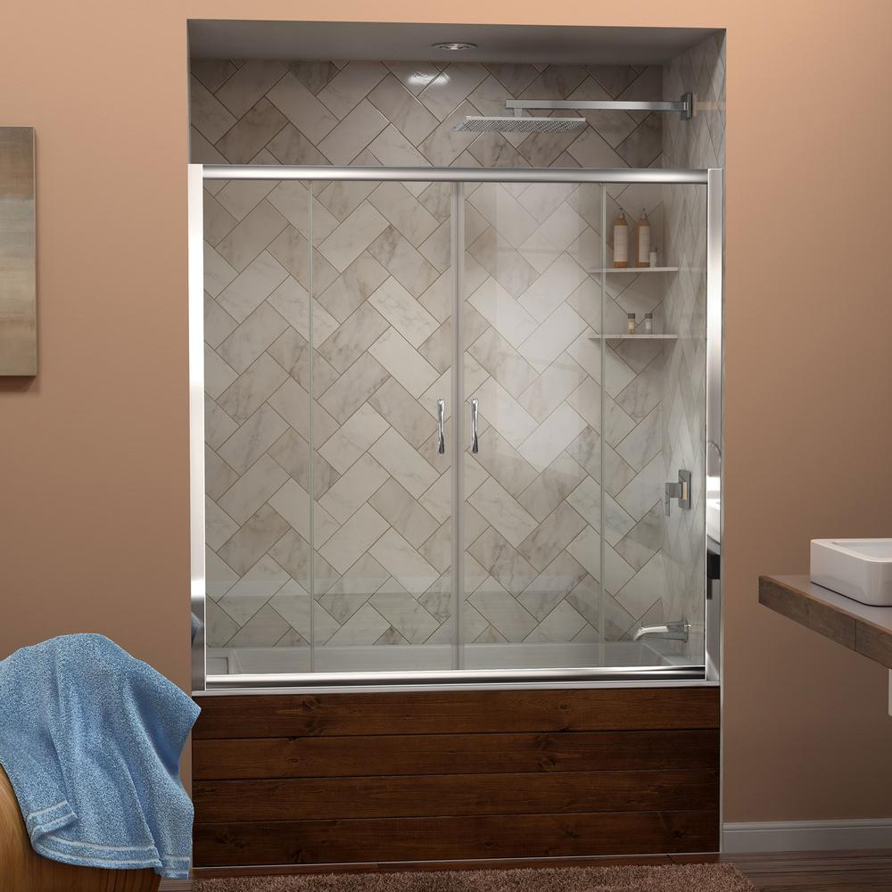 "Visions 56 to 60"" Frameless Sliding Tub Door, Clear 1/4"" Glass Door, Chrome"
