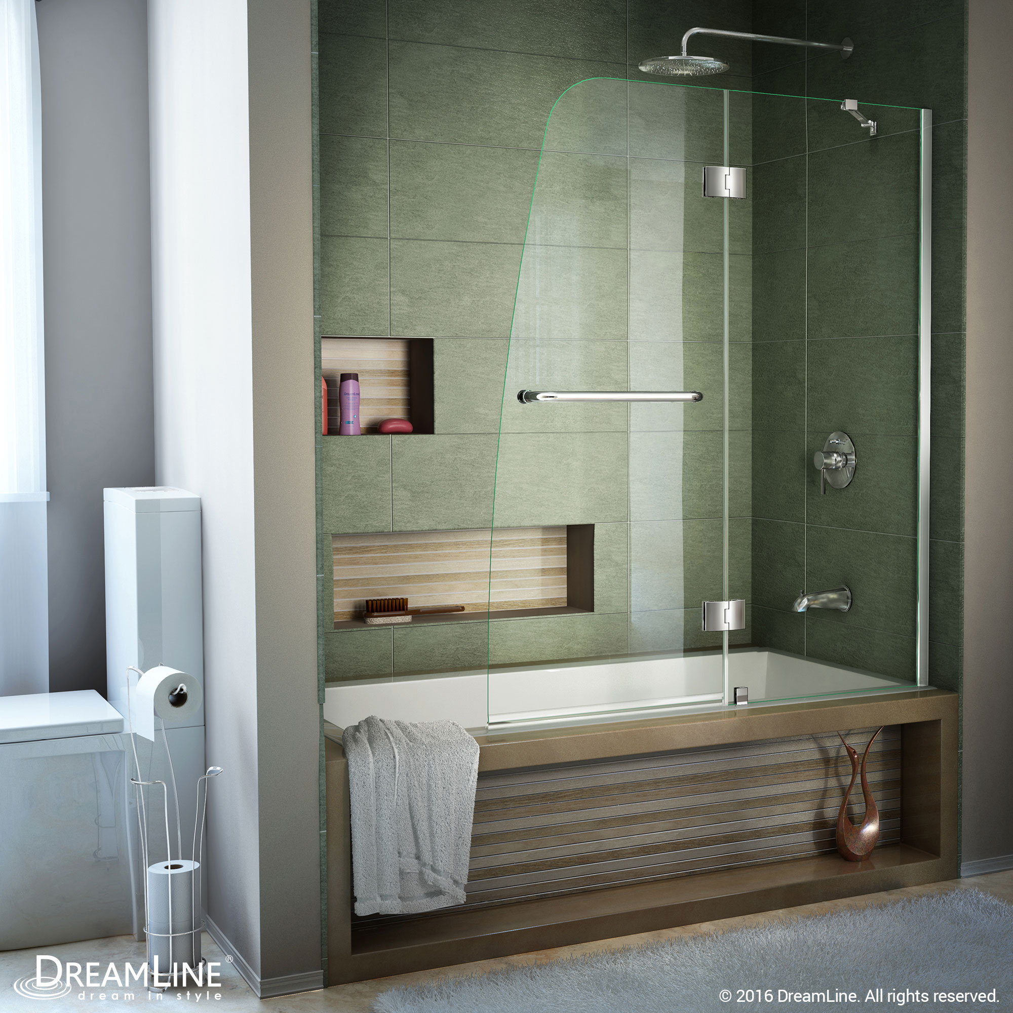 DreamLine Aqua 48 in. W x 58 in. H Frameless Hinged Tub Door in Brushed Nickel