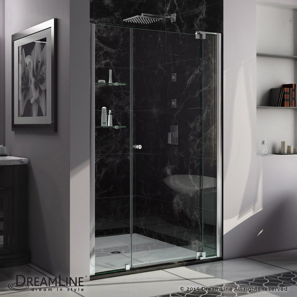 "Allure 48 to 55"" Frameless Pivot Shower Door, Clear 3/8"" Glass Door, Chrome"