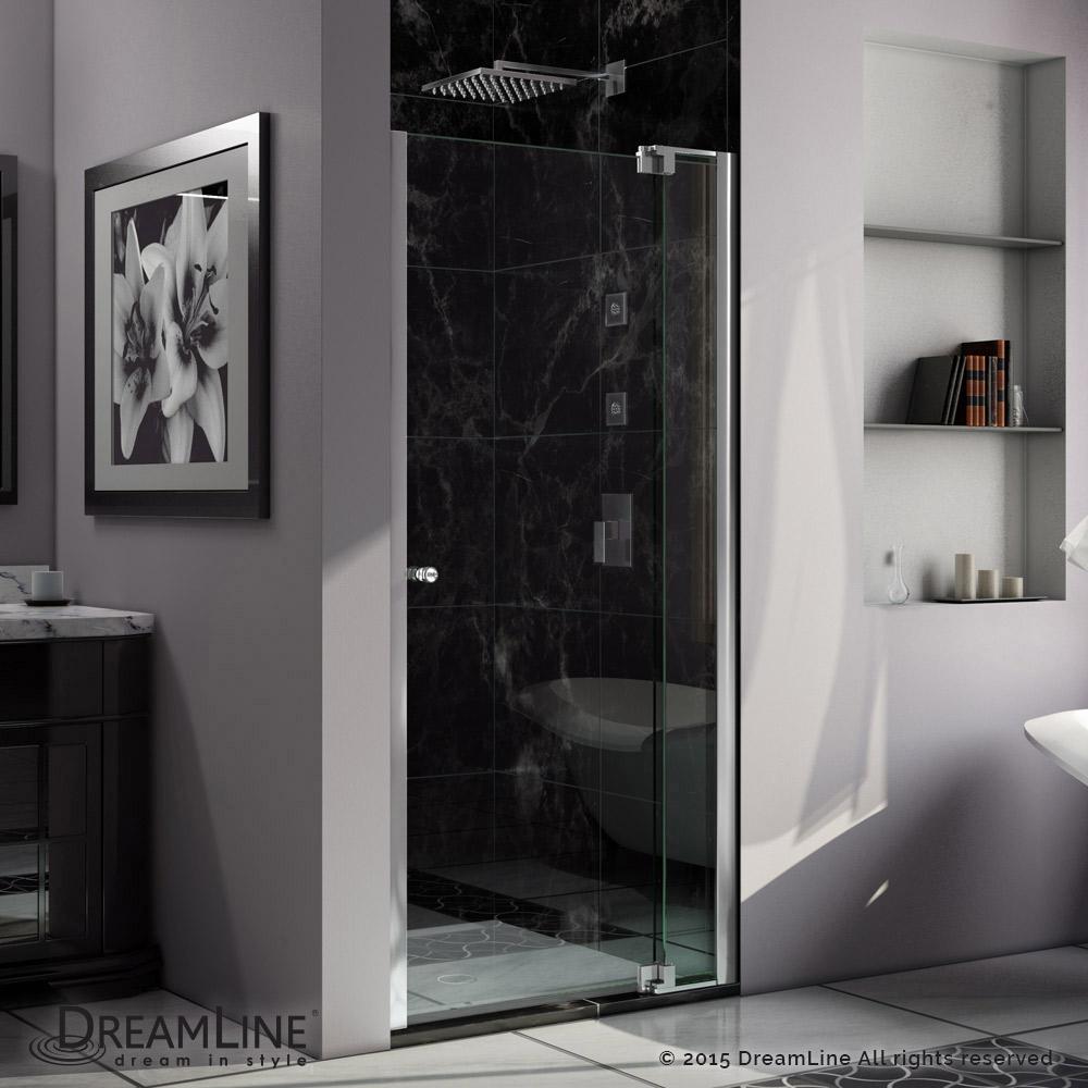 "Allure 54 to 61"" Frameless Pivot Shower Door, Clear 3/8"" Glass Door, Chrome"