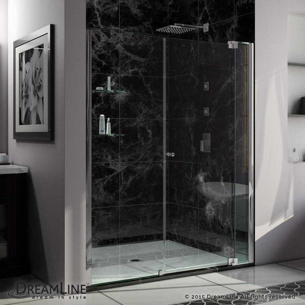 "Allure 60 to 67"" Frameless Pivot Shower Door, Clear 3/8"" Glass Door, Chrome"
