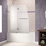 "Aqua 48"" Frameless Hinged Tub Door, Frosted 1/4"" Glass Door, Chrome Finish"