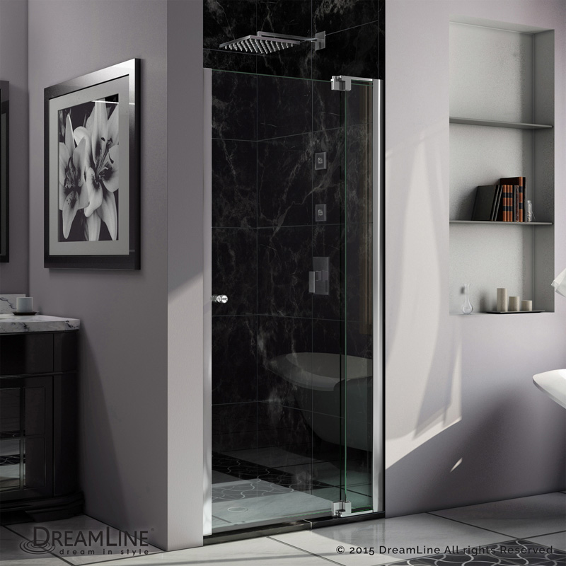 "Allure 30 to 37"" Frameless Pivot Shower Door, Clear 3/8"" Glass Door, Chrome"
