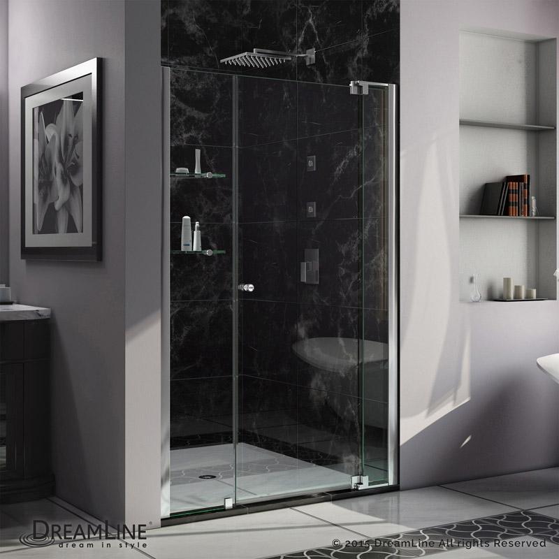 "Allure 42 to 49"" Frameless Pivot Shower Door, Clear 3/8"" Glass Door, Chrome"