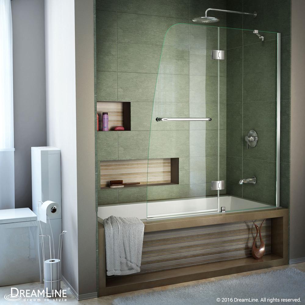 DreamLine Aqua 48 in. Frameless Hinged Tub Door, Clear 1/4 in. Glass Door, Chrome Finish