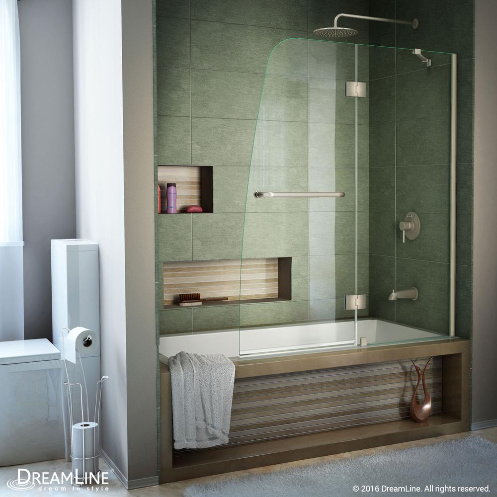 DreamLine Aqua 48 in. Frameless Hinged Tub Door, Clear 1/4 in. Glass Door, Brushed Nickel Finish