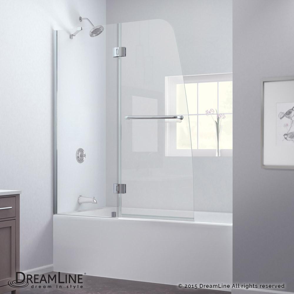 "DreamLine Aqua 48"" Frameless Hinged Tub Door, Clear 1/4"" Glass Door, Chrome Finish"