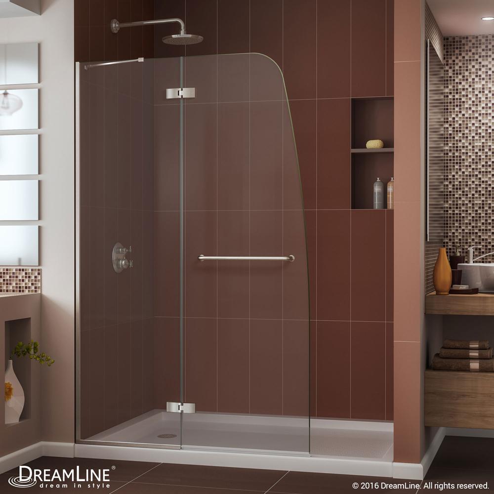 """Aqua Ultra 45"""" Frameless Hinged Shower Door, Clear 5/16"""" Glass Door, Brushed Nickel"""