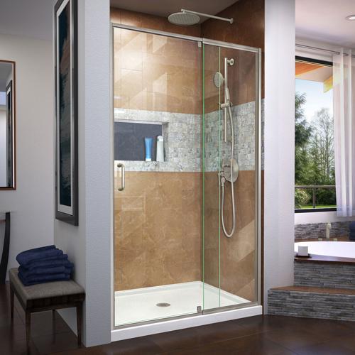DreamLine Flex 36 in. D x 48 in. W x 74 3/4 in. H Semi-Frameless Shower Door in Brushed Nickel with Center Drain White Base Kit