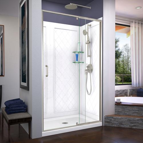DreamLine Flex 36 in. D x 48 in. W x 76 3/4 in. H Semi-Frameless Shower Door in Brushed Nickel with Center Drain Base, Backwalls