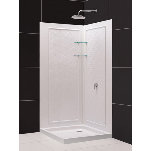 DreamLine 32 in. D x 32 in. W x 76 3/4 in. H SlimLine Double Threshold Corner Drain Base and Acrylic Backwall Kit in White