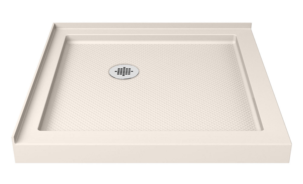 DreamLine SlimLine 36 in. by 36 in. Double Threshold Shower Base in Biscuit Color