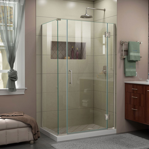 DreamLine Unidoor-X 40  in. W x 30 3/8 in. D x 72 in. H Frameless Hinged Shower Enclosure in Brushed Nickel